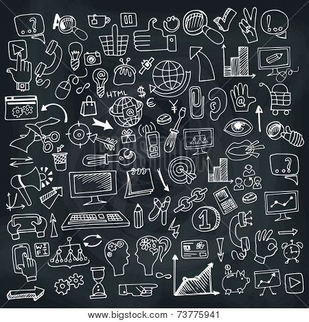 Doodle business seo icons set on Chalkboard