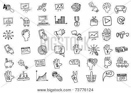 Doodle business seo  icons set.Outline sketchy