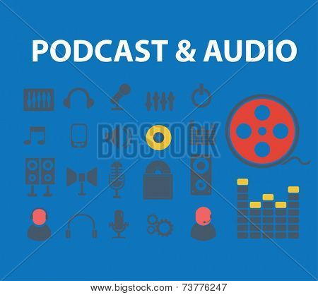 podcast, audio, media illustrations, icons, signs, silhouettes set, vector