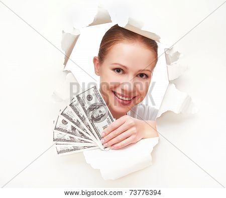 Financial Concept, Happy Woman With Money In Hands Dollorov Peeking Through A Hole In A Blank White