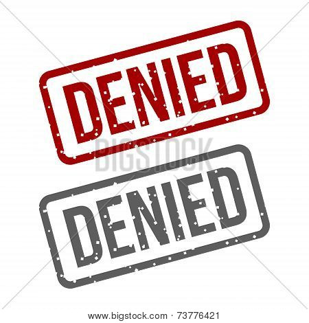 DENIED Red Stamp over a white background. Vector