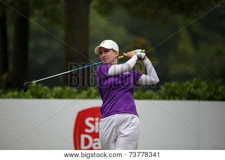 KUALA LUMPUR, MALAYSIA - OCTOBER 11, 2014: Karie Webb of Australia tees off at the fourth hole of the KL Golf & Country Club during the 2014 Sime Darby LPGA Malaysia got tournament.