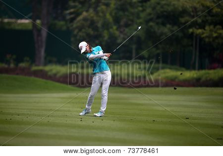 KUALA LUMPUR, MALAYSIA - OCTOBER 10, 2014: Na Yeon Choi of South Korea plays on the fairway of the ninth hole of the KL Golf & Country Club at the 2014 Sime Darby LPGA Malaysia golf tournament.
