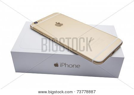 Ostersund, Sweden - September 26 2014:  iPhone 6 Plus and the box isolated on white background. Apple IPhone is one of the most popular smart phones in the world.