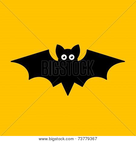 Cartoon Bat on Orange Background. Vector
