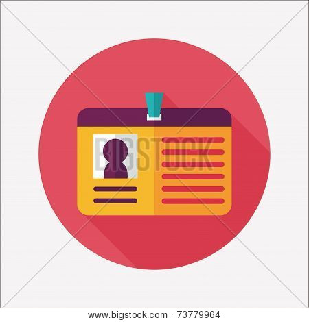 Identification Card Flat Icon With Long Shadow