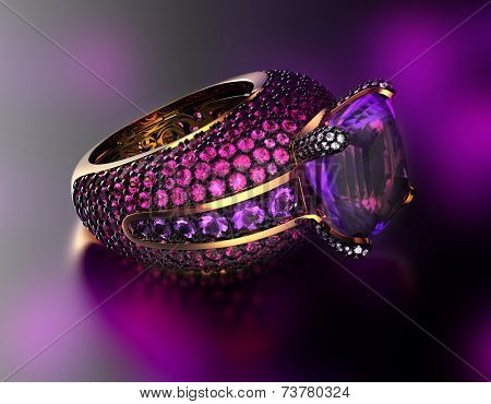 Golden Engagement Ring with ruby. Fashion Jewelry background