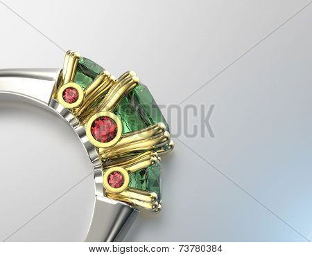 Ring with Diamond. Peridot. Fashion Jewelry background