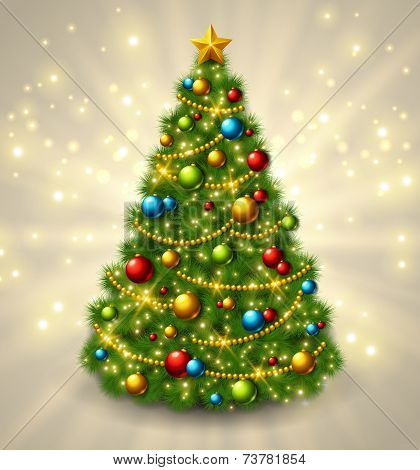 Christmas tree with colorful baubles and gold star on the top.