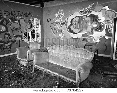 Abandoned Building With Illicit Graffiti Vandalism
