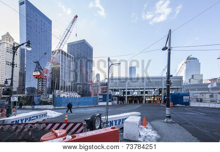 NEW YORK, USA -January 9: view of buildings and construction work on Ground Zero,rebuilding the site on January 9, 2011, New York