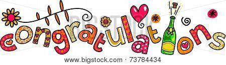 Congratulations Doodle Text Expression