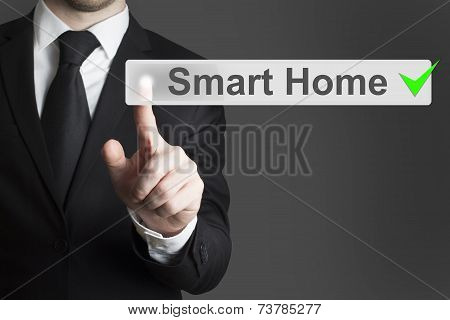Businessman Pushing Flat Button Smart Home