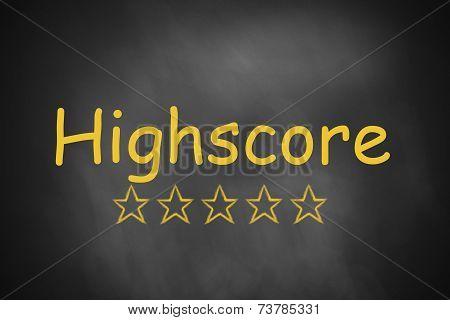 Black Chalkboard Highscore Golden Stars