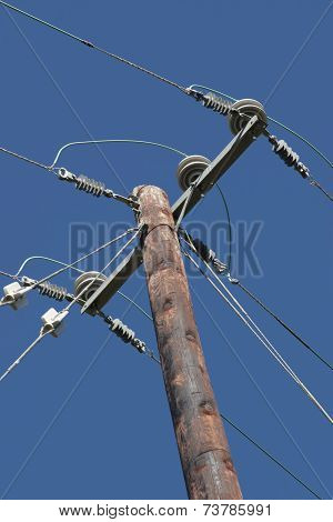 Electricity Pole And Blue Sky