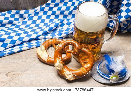 Bavarian Beer Mug And Pretzels