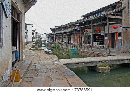 The Canal Of An Ancient Village In Anhui Province, China, Oil Paint Stylization