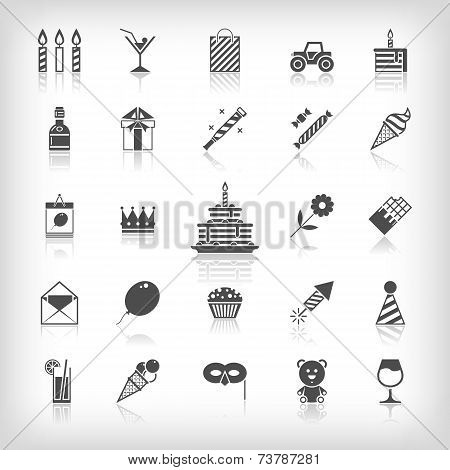 Collection of birthday, jubilee, holiday, celebrating party icons. Black silhouettes isolated on whi