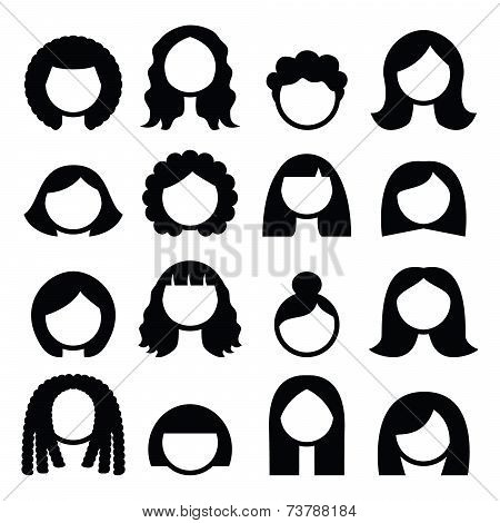 Hair styles, wigs icons set - women