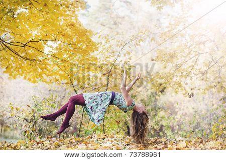 Levitation portrait of young woman