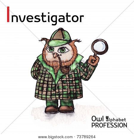 Alphabet professions Owl Letter I - Investigator character Vector Watercolor.