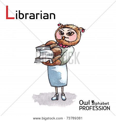 Alphabet professions Owl Letter L - Librarian character Vector Watercolor.