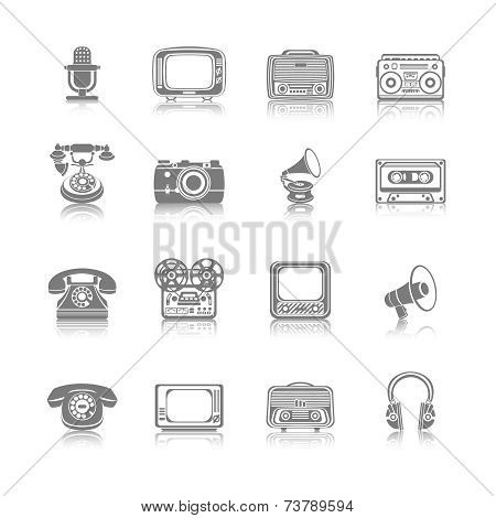 Retro Media Black Icons