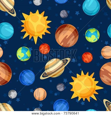 Cosmic seamless pattern with planets of the solar system.