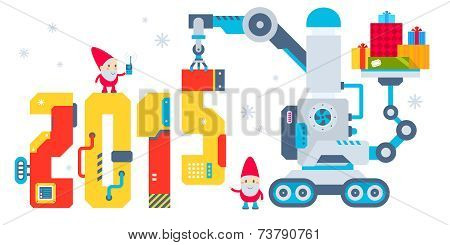 Vector Horizontal Illustration Of The Gnome Operates The Machine That Puts Presents And Puts The Num