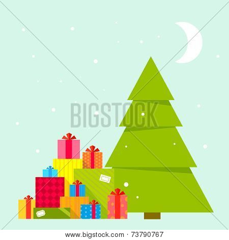 Vector Illustration Of The Christmas Tree And Piles Of Presents Under It On Blue Background With Sno