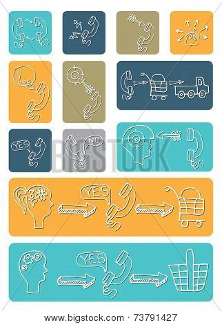 Doodle scheme main activities telephone marketing icons