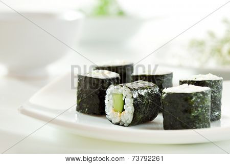 Kappamaki - Cucumber Sushi Roll on White Plate