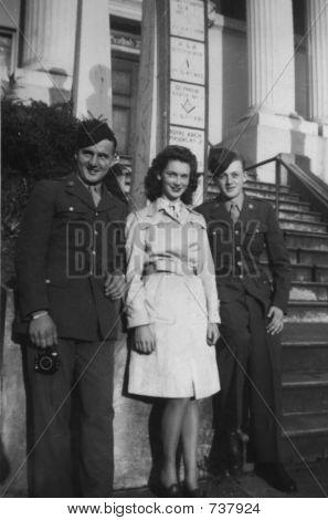 Vintage woman men  1945