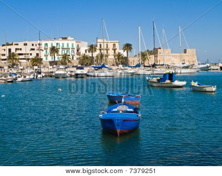 Old port with rowboats. Bari. Apulia.