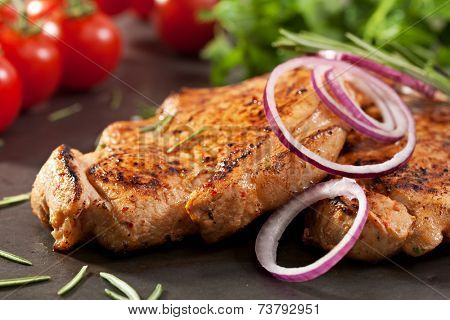 Pork Loin BBQ with Rosemary and Onions