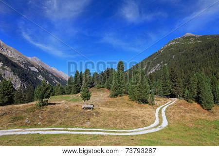Valley in the mountains of Austria. Sunny autumn day. The dirt path winds between yellowed fields