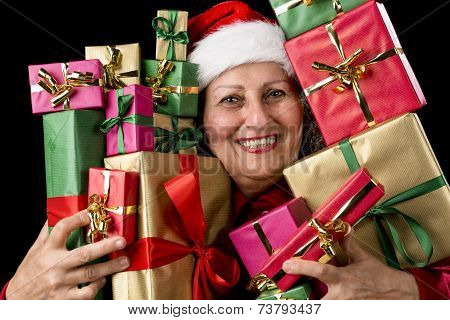 Delighted Aged Woman Embosoming Wrapped Presents.
