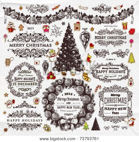 Christmas Decoration Collection | Set of Calligraphic and Typographic Elements, Frames, Vintage Labels. Ribbons, Stickers, Garland, Gifts, Wreath, Santa Claus, Xmas Tree and Balls. Holiday Design