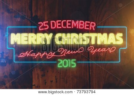 Christmas Neon Sign. Wood Texture Wall. Holiday Design. Vector Illustration.
