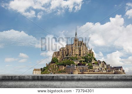 Landscape of Mont Saint-Michel, the famous UNESCO World Heritage Site in France, Europe.