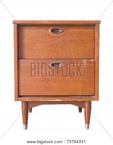 Antique asian wood drawer chest isolated on white background