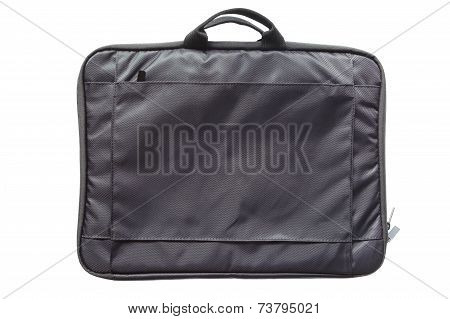 Black plastic computer notebook case isolated on a white