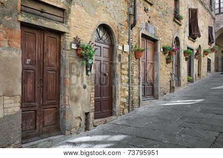 The road leading to the main square - Piazza dei Priori, Volterra Tuscany Italy