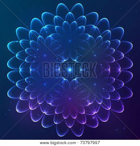Blue shining vector cosmic flower