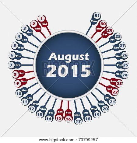 Vector calendar 2015 August template