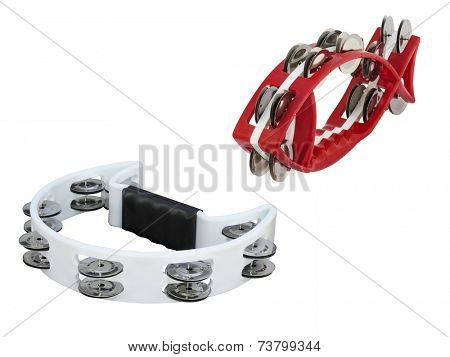 The image of tambourine isolated under the white background