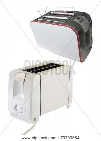 The image of toaster under the light background . The focus is on the front corner