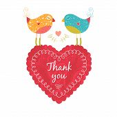 pic of thankful  - Vector thank you note with birds and heart - JPG