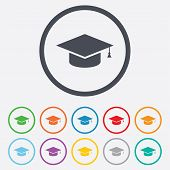 stock photo of graduation  - Graduation cap sign icon - JPG