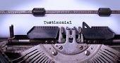 stock photo of typewriter  - Vintage inscription made by old typewriter testimonial - JPG